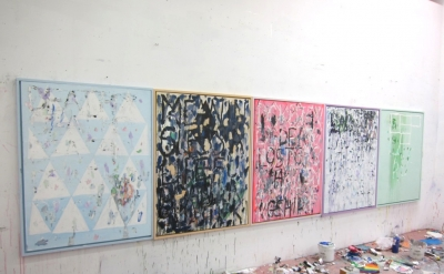 Mark Dutcher Studio view with 5 Paintings For My Sister (courtesy of the artist)