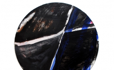 Brian Edmonds, A Darker Dark, acrylic and pastel on canvas, tondo 12 inches in d