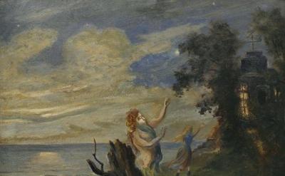 Louis M. Eilshemius, Untitled (Figures in a Moonlit Landscape), c.1905 (courtesy