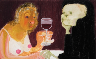 Nicole Eisenman, Death and the Maiden, 2009, oil on canvas, 18 x 14.5 inches (co