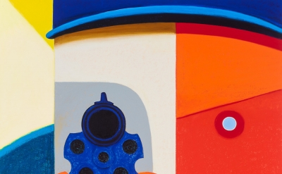 (detail) Nicole Eisenman, Shooter 2, 2016, oil on canvas, 82 x 65 inches (courte