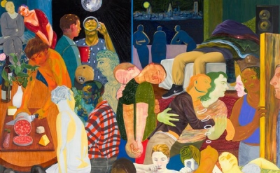 (detail) Nicole Eisenman, Another Green World, 2015, oil on canvas, 128 x 106 in