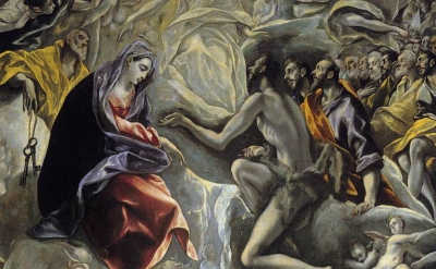 (detail) El Greco, 1586, oil on canvas, 180 in × 140 inches, Santo Tomé, Toledo,