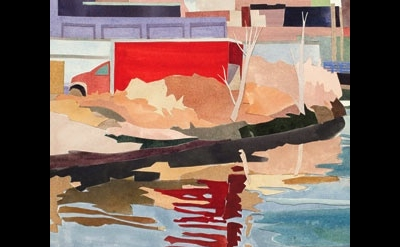 (detail) Elizabeth O'Reilly, Red Truck, Reflected, 2011, watercolor collage (cou