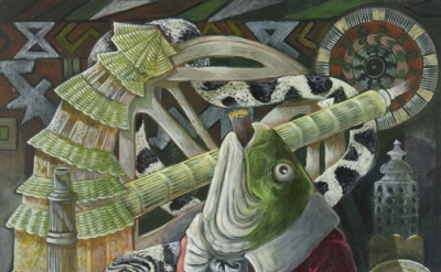 (detail) Ellen Lanyon, Fisch, 2009, acrylic on canvas, 36 x 36 inches (courtesy