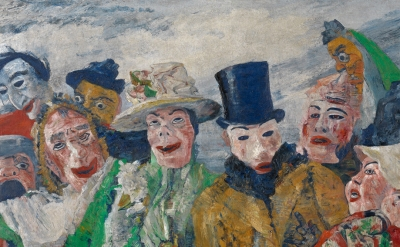 (detail) James Ensor, The Intrigue, 1890, oil on canvas, 90 x 149 cm (Koninklijk Museum voor Schone Kunsten, Antwerp, inv. 1856 Photo KMSKA © www.lukasweb.be - Art in Flanders vzw. Photography: Hugo Maertens / © DACS 2016)