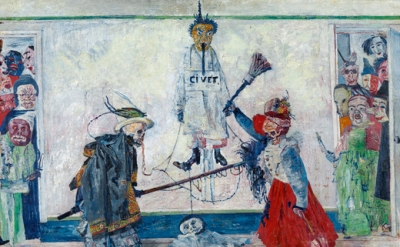 James Ensor: Skeletons Fighting for the Body of a Hanged Man, 1891
