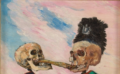 James Ensor, Skeletons Fighting over a Pickled Herring, 1891, oil on panel, 16 x 21.5 cm (Photo © Musées royaux des Beaux-Arts de Belgique, Brussels, photo: J. Geleyns - Ro scan / © DACS 2016)