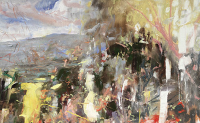 (detail) Eric Aho, Daybreak, 2011, 92 x 80 inches (three panels), oil on panel (
