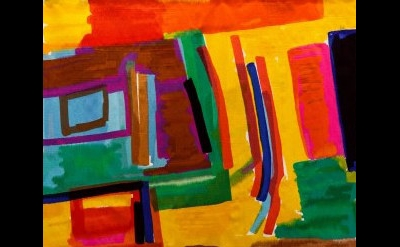 (detail) Etel Adnan, A Window through a Window, 2016, wool tapestry (Image © Tristan Fewings / Getty)