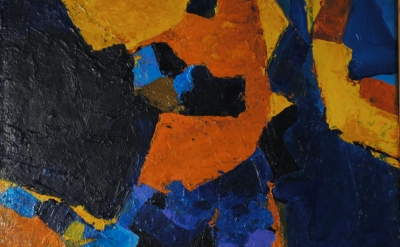 Lynn Faus, Orange, acrylic on canvas (courtesy of Mythos Fine Art and Artifacts