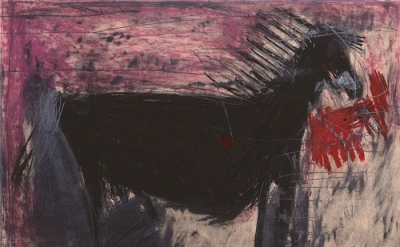 Yisrael K. Feldsott, Horse, pastel on paper, 22 x 27 inches (courtesy of the art