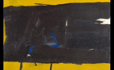 Perle Fine, Black on Yellow, ca. 1952, oil on canvas, 23 x 30 inches (courtesy o