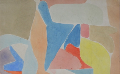 (detail) Perle Fine, In High Spirits (aka in August), c. 1949, watercolor on pap