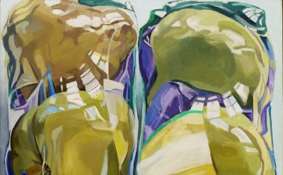 (detail) Janet Fish, Untitled (Two Packages of Pears), 1969, oil on canvas, 52 1