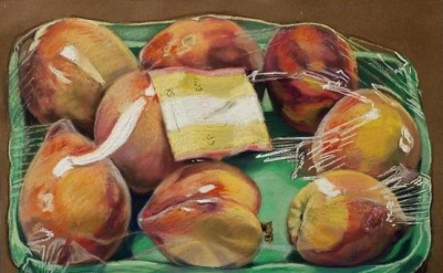 Janet Fish, Box of Peaches, 1972 (courtesy of DC Moore Gallery)