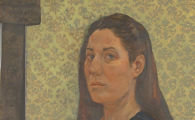 (detail) Jessie Fisher, Self-portrait with Brown Obie, oil on panel 40 x 24 inch
