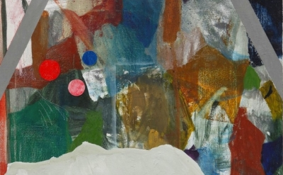 (detail) Patrick Michael Fitzgerald, Consolidation, oil & collage on linen, 55 x