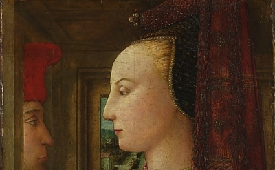 (detail) Fra Filippo Lippi, Portrait of a Woman with a Man at a Casement, ca. 14