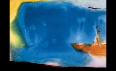 (detail) Helen Frankenthaler, Moveable Blue, 1973 (courtesy of Mitchell-Innes &