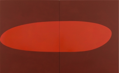 Suzan Frecon, vermilion, 2017, oil on linen, two (2) panels, overall: 84 1/8 x 104 x 1 1/2 inches (courtesy of David Zwirner Gallery)