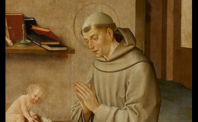 (detail) St. Anthony and Child, Workshop of Frei Carlos, 1520-1530 (Museu Nacion