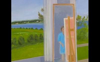 (detail) Jane Freilicher, Painter in the Studio, 1987, oil on canvas, 60 x 40 in