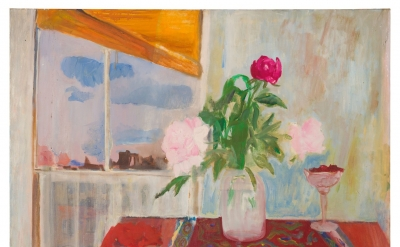 Jane Freilicher, Peonies on a Table, 1954 (courtesy of Paul Kasmin Gallery)