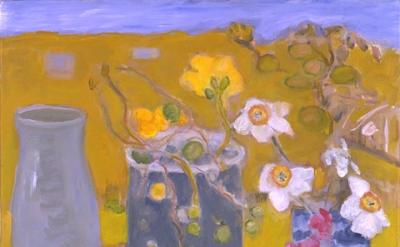 Jane Freilicher, Jonquils and Nasturtiums, oil on linen, 2006 (courtesy of Valer