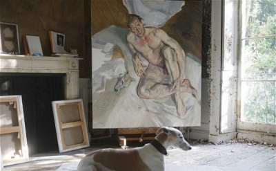 Unfinished 'Portrait of the Hound,' 2011 (courtesy of Lucien Freud / National Po