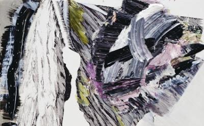 (detail) Pia Fries, fahnenbild e1, 2012 Oil paint and silkscreen on wood, 27 1/2