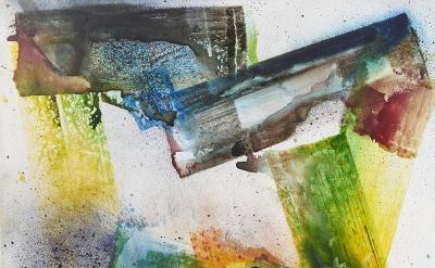 Max Frintrop, dye a happy man, 2016, pigments, ink, acrylic on canvas, 66.9 x 86