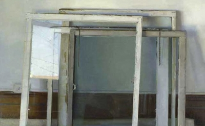 (detail) Christopher Gallego, Windows, 2005, oil on canvas, 48 x 54 inches (cour
