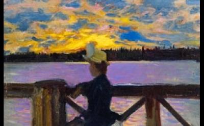 (detail) Akseli Gallen–Kallela, Mary Gallen on the Kuhmoniemi Bridge, 1890, Oil