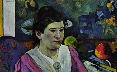 (detail) Paul Gauguin, Portrait de femme à la nature morte de Cézanne, 1890 (A