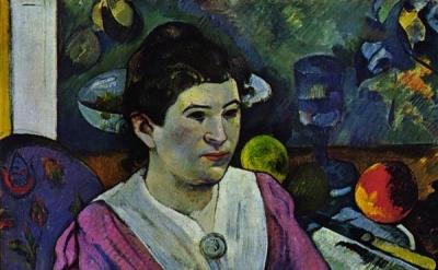 (detail) Paul Gauguin, Portrait de femme à la nature morte de Cézanne, 1890 (A