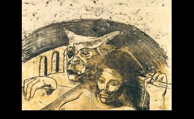 (detail) Paul Gauguin, Tahitian Woman with Evil Spirit, c. 1900, oil transfer dr