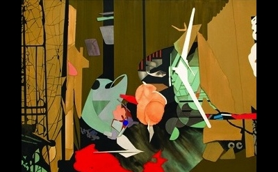 Jim Gaylord, Call on the Carpet, 2013, gouache on cutout paper, 36 x 50 inches (
