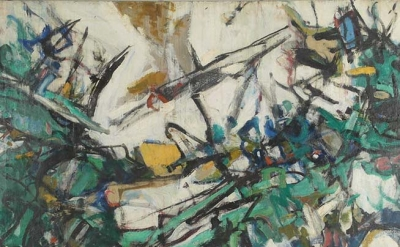 (detail) Joann Gedney, Landscape IV, 1959, oil on canvas, 49 × 70 inches (courte