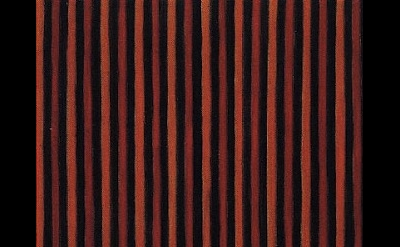 (detail) Gene Davis, Black Red Orange, 1958, 12 x 10 inches, oil on canvas