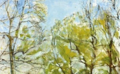 (detail) Patrick George, Ash Trees Around the Pond, oil on board, 25 3/8 x 25 1/