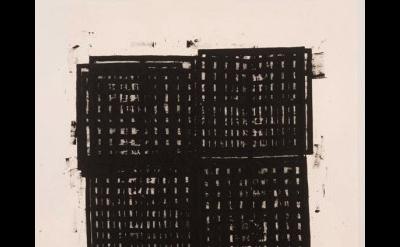 (detail) Gerald Ferguson, 18 Drain Covers, 2006, Enamel on canvas, 62 x 54 inche