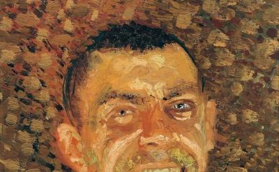 (detail) Richard Gerstl, Self-Portrait, Laughing, (summer-autumn 1907), oil on canvas (Belvedere, Vienna)