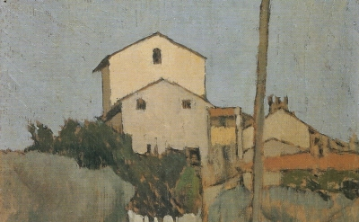(detail) Oscar Ghiglia, View of Villa d'Ancona a Volognano, oil on panel, 39 x 2