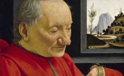(detail) Domenico Ghirlandaio, An Old Man and his Grandson, ca. 1490, tempera on