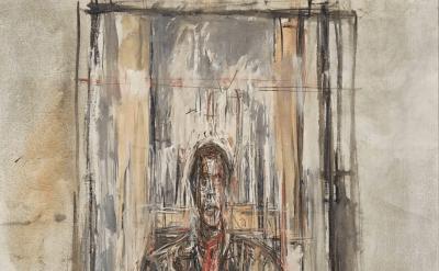 Alberto Giacometti, Diego Seated, 1948, oil on canvas (©2017 Alberto Giacometti Foundation, ACS, and DACS/Sainsbury Centre for the Visual Arts, Norwich)