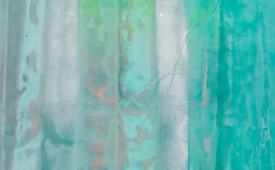 (detail) Sam Gilliam, Green April (photo by Lee Thompson)