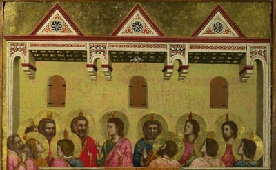 (detail) Pentecost, about 1320–25, Giotto di Bondone. Tempera and gold leaf on p