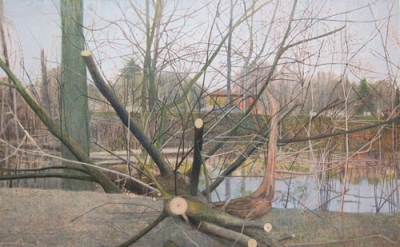 Sky Glabush, Cut Tree, oil on canvas, 84 x 108 inches, 2011 (courtesy of Dr. Dav