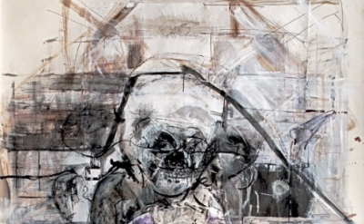 (detail) Judith Glantzman, Shakespeare's Pirate, 201, gesso, acrylic, walnut ink